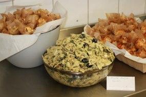 Savoury mini muffins and pesto pasta salad