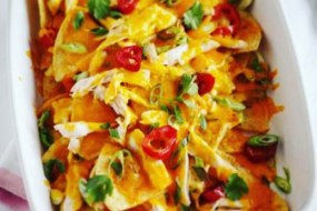 Pulled chicken nachos with pickled red chilli