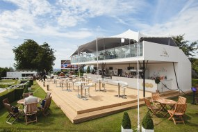 2 Storey stretch tent in white at Goodwood races