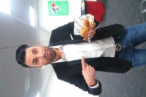 Rylan Clarke with his Fat Annie's hot dog