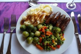 Sausage-Mash and Mixed Vegetables