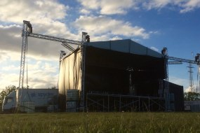 10m x 8m stage with 8m PA & Scrim wings