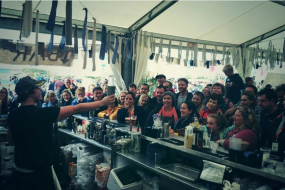 BlackLeaf Events giving a cocktail demo at The Big Feastival for Alex James
