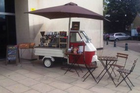 Our mobile barista coffee cart at her first wedding event