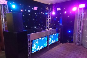 Twin DJ Booth, Lighting & LED Star Cloth
