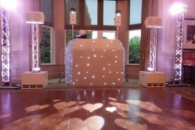 White Wedding DJ set-up including hearts projected onto the dancefloor