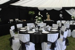 Black and white theme wedding furniture and marquee lining