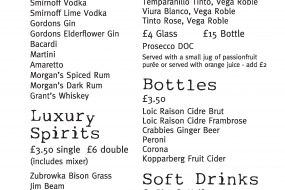 Example personalised bar menu