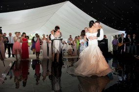 Black dance floor, starcloth, flat white linings, wedding marquee