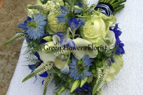 Blue and Cream Brides Bouquet