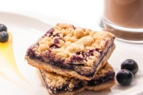 Blueberry Crumble Cake Slice Boutique Cake by Nom Cake