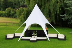 20 x 20 Capri Marquee with Rattan loungers