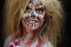 Zombie girl face paint special fx make up artist MUA littlestarfaces