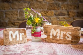 Vintage handmade Mr & Mrs signs for top table