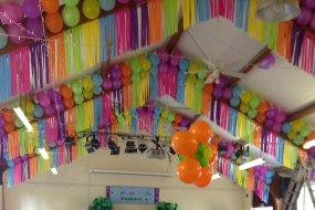 Streamers and balloons