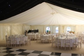 Beautiful night time marquee with checker board dance floor