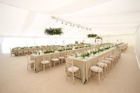 Wedding marquee, flat white linings, stright tables