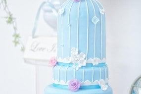 Blue birdcage wedding cake