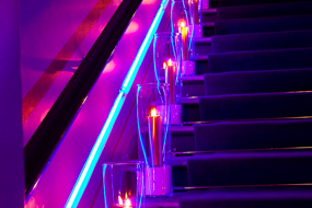 candlelit staircase giving a atmosphere by lighting