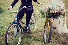 Rustic flowers in a bike basket