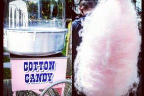 Chilly White Candy Floss Cart with uniformed server