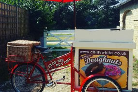 Chilly White Doughnut Cart with uniformed server