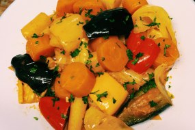 cooked vegetable in seasoned tomatoe sauce