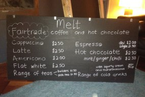 Fair trade coffees, teas and hot chocs menu