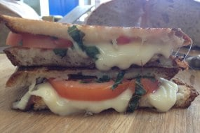 Cheese-Us-Loves-You(Mozzarella, fresh tomatoes, fresh basil in  sourdough)