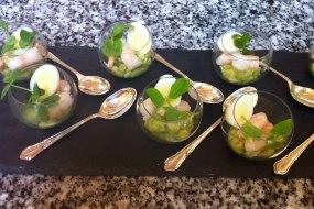 Guacamole and prawn canape