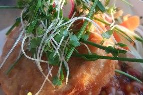 Prawn and crab fritter, sweetcorn relish