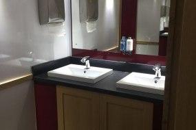 interior of luxury self-contained toilet trailer, Deco range