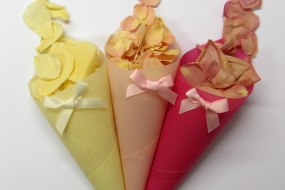 Rose Petal Wedding Confetti and Handmade Confetti Cones