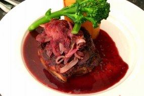 Lamb shoulder with cherry and mint sauce and potato fondant