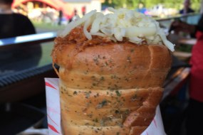 Herb bread cone filled with bbq pork & mozzarella cheese