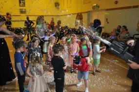 Childrens' Parties - Snow machine in action