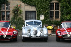 E-Types and Jaguar XK140 sports cars for the grooms of Warwickshire