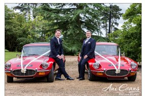 Classic E-Type sports cars for the groom and best man in Nuneaton