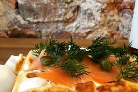 our delicious smoked salmon, cream cheese and caper option