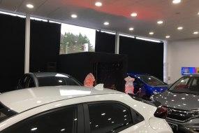 Car showroom draping