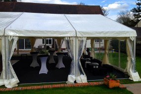 Clearspan marquee with chill out box seats and poseur tables
