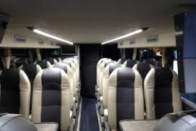 17 seater executive minibus with dvd player, leather seats.