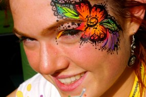 Neon UV Henna Flower Festival Eye Design by London Face Painter Happy Canvas