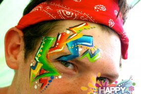 Mens Colourful Festival Eye Design By London face painter happy canvas