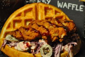Texas BBQ Chicken & Waffle Sandwich