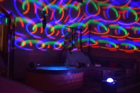 Hot tub with party speaker and lights