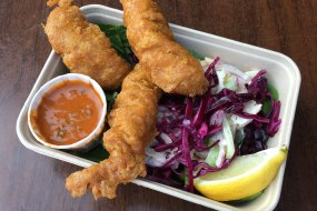 Indian battered fish and salad