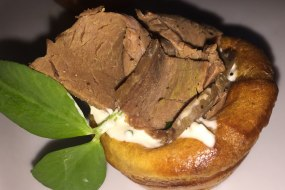 Beef, Creme Fraiche & horseradish filled Yorkshire Canape