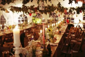Vintage style marquee by candlelight
