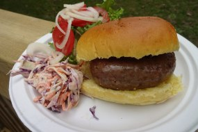 BBQ Buns, served plated with help yourself salads & sauces